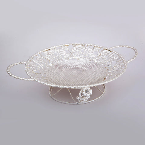 "Dish, Circular on Stand, Handles, Flower ornamentation, Jalli, 10.5"" dia. - Barton,Son & Co."