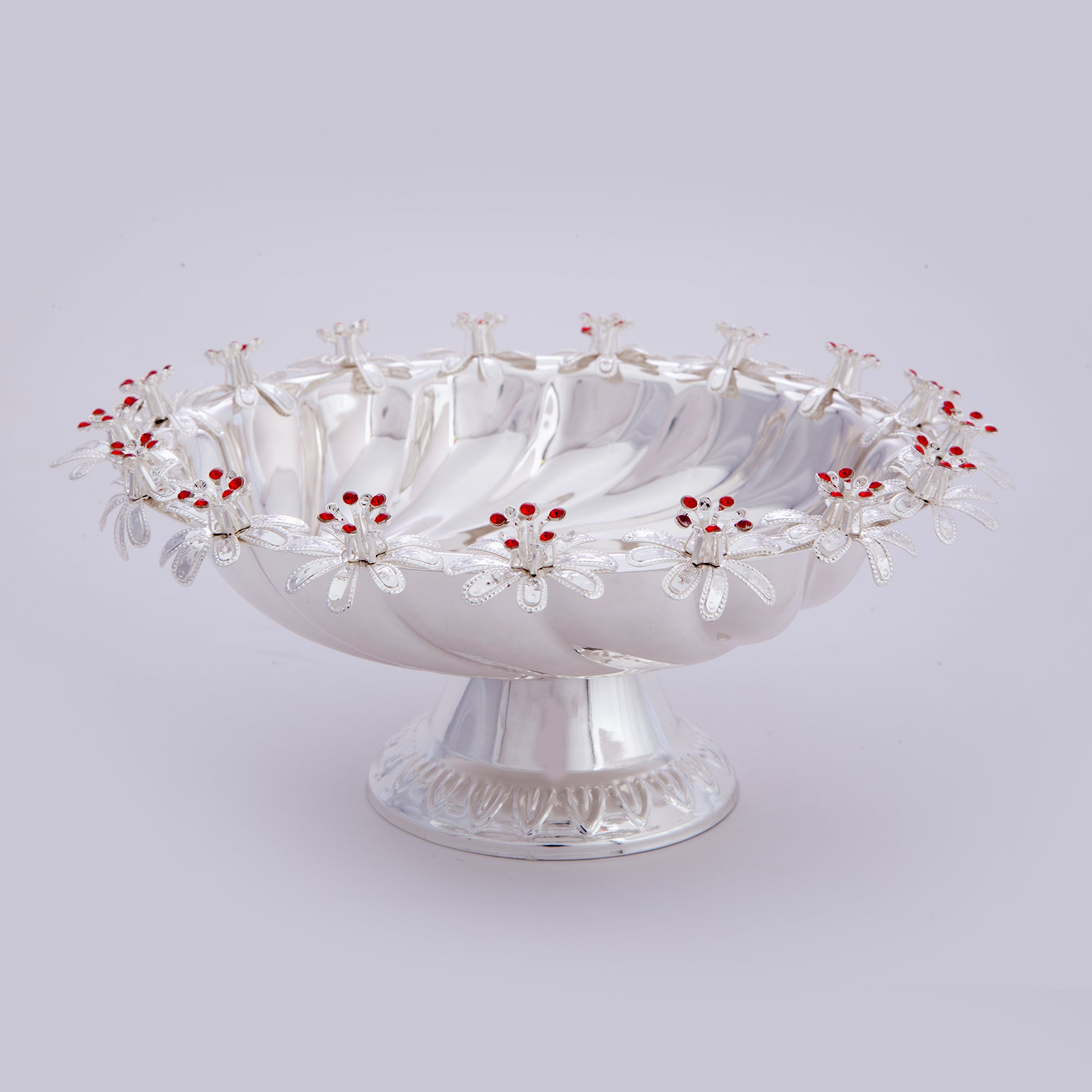 "Bowl, Flowers, Red stone, Base 9"" dia. - Barton,Son & Co."