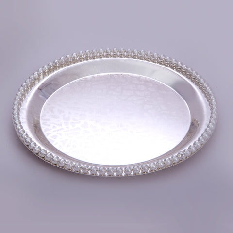 "Tray, Circular, Bead border, ornamental design, 10"" dia - Barton,Son & Co."