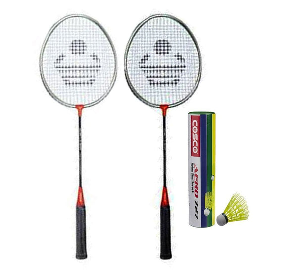 Cosco CB-90 Badminton Racket Pair With Aero 727 Nylon Shuttle Cock- Badminton Kit