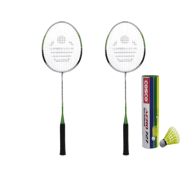 Cosco CB-115 Badminton Racket Pair With Aero 727 Nylon Shuttle Cock- Badminton Kit