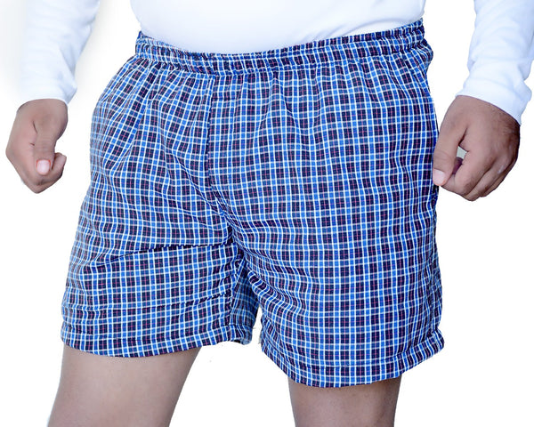 Games On Doors Blue Check Printed Men Boxer