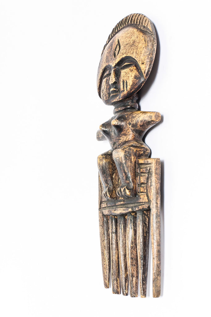West African Hand Carved  Female Wood Comb - A'Maze Africa - 3