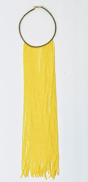 Masai Yellow Fringe Necklace - A'Maze Africa - 1