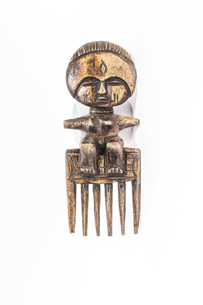 West African Hand Carved  Female Wood Comb - A'Maze Africa - 1
