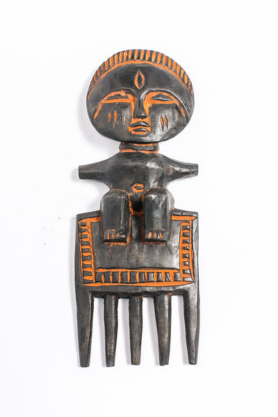 West African Hand Carved Wood Comb - A'Maze Africa - 1