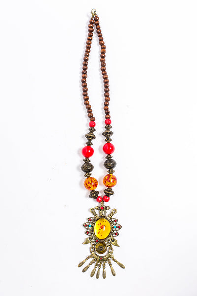 Multi-Color Bead and Stone Statement Necklace - A'Maze Africa
