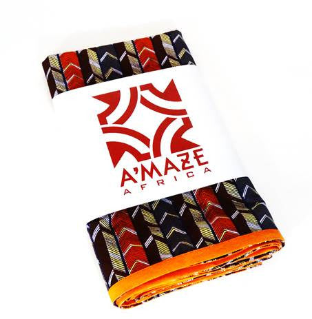 African Print Head Wrap - Bricks