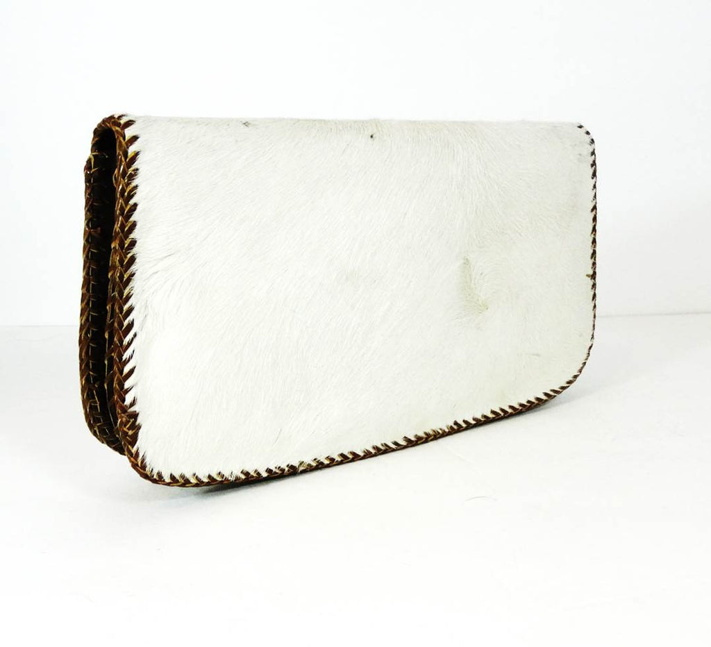Cow Hair On Cowhide Leather Bag (White) - A'Maze Africa - 3