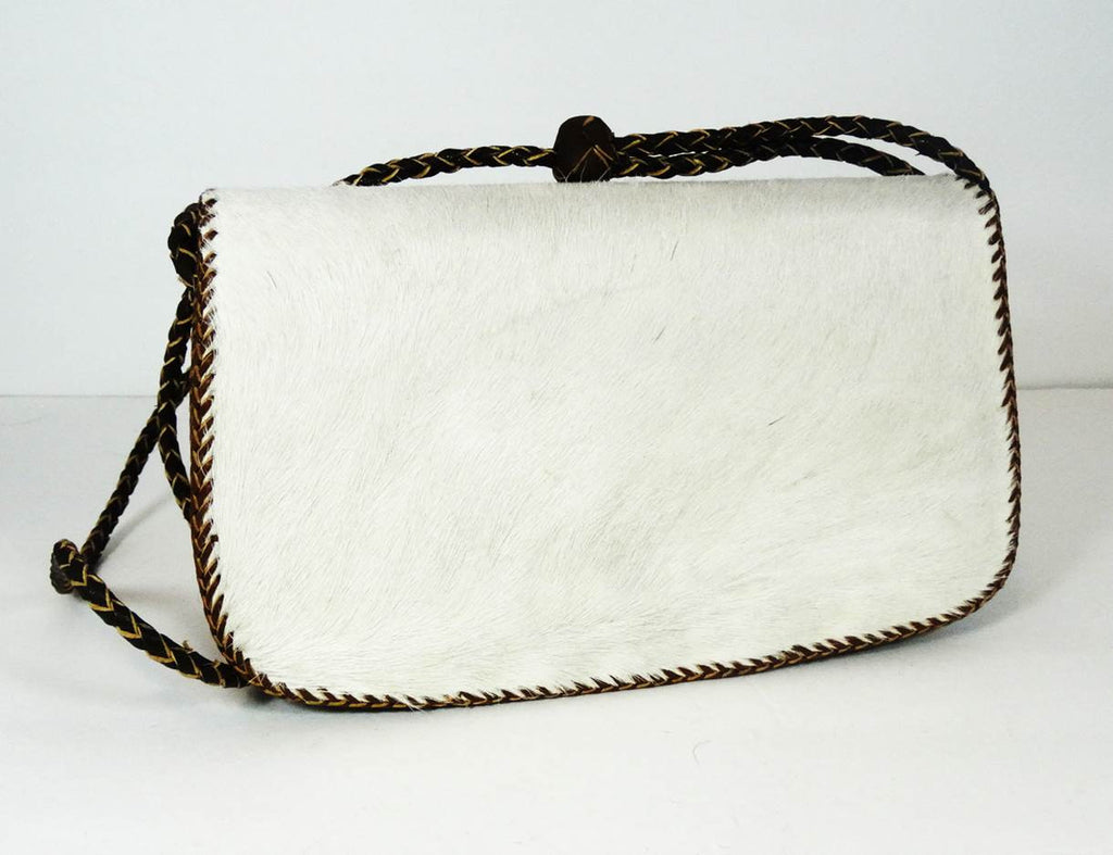 Cow Hair On Cowhide Leather Bag (White) - A'Maze Africa - 4