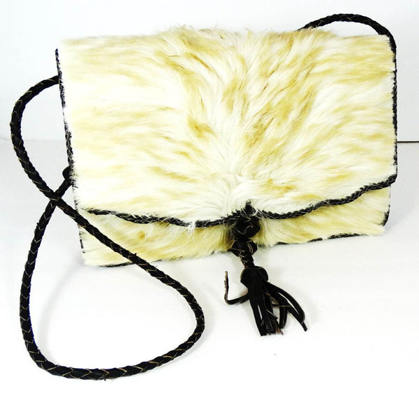 White Camel Hair On Cowhide Leather Bag - A'Maze Africa - 1