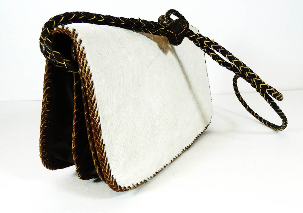 Cow Hair On Cowhide Leather Bag (White) - A'Maze Africa - 1