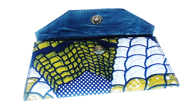 Women's African Print Leather Wallet - A'Maze Africa