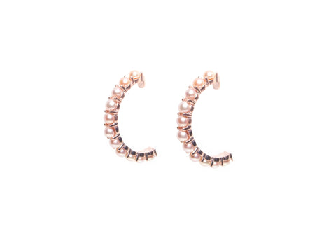 Earring Classic All Pearl Hoops Small 11 Pearls