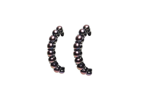 Earring Classic All Pearl Hoops Large 9 Pearls
