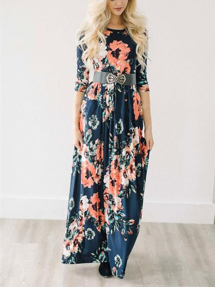 Chicnico Ecstatic Harmony Navy Blue Floral Print Maxi Dress