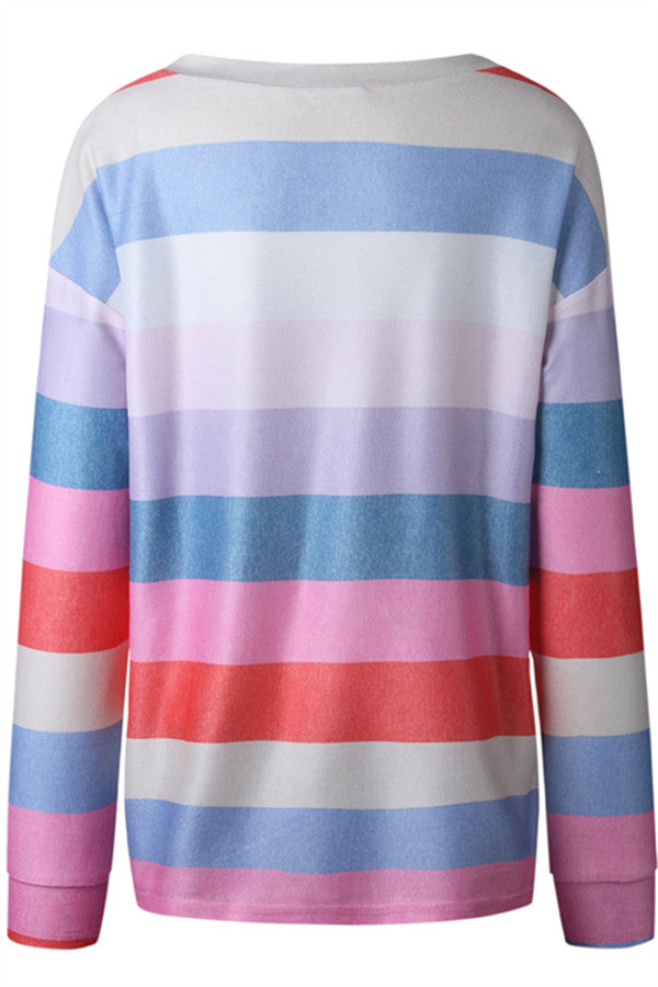 Chicnico Casual Rainbow Pullover