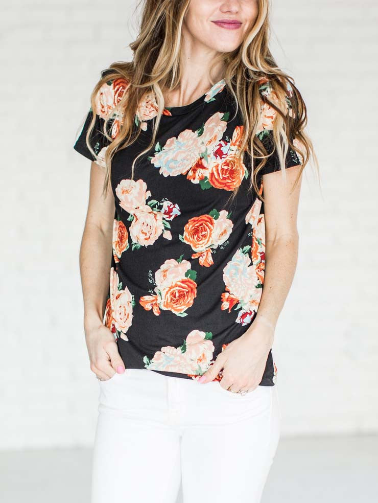 Chicnico Casual Round Neckline Cute Little Floral Print Top