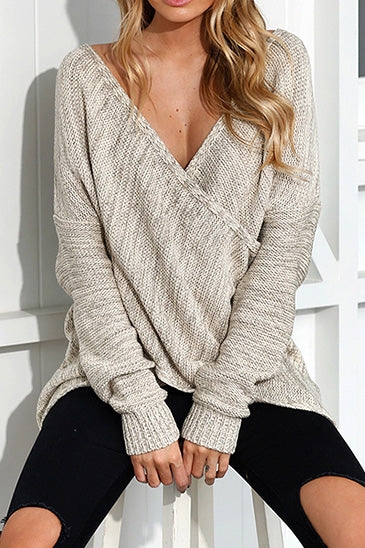 Chicnico Simple Casual V Neck Front Cross Weekend Sweater Top