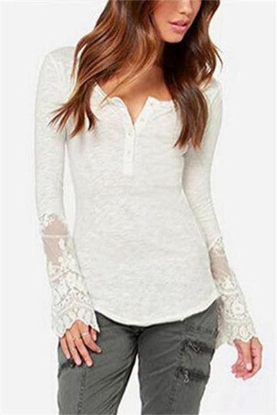 Chicnico Basic Base Long Sleeve With Lace Shirt