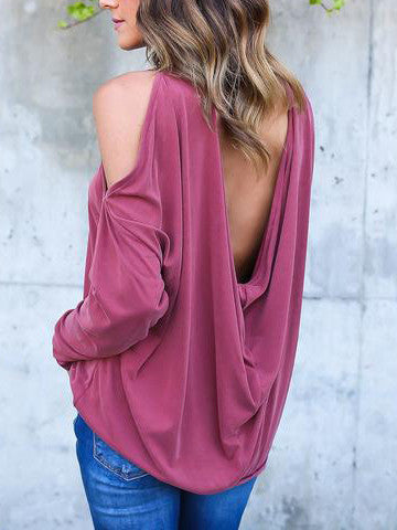 Chicnico Solid Color Off The Shoulder Sexy Knit Top