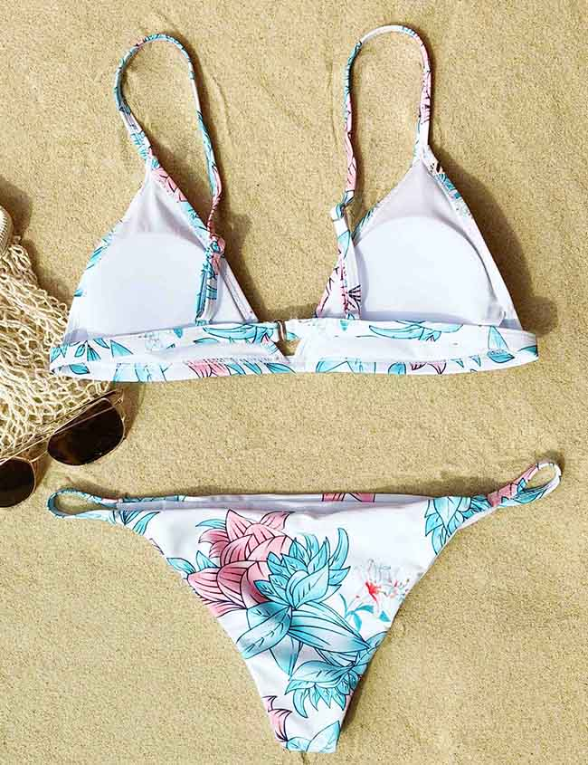 Chicnico Cute Floral Print Two Piece Bikini Set