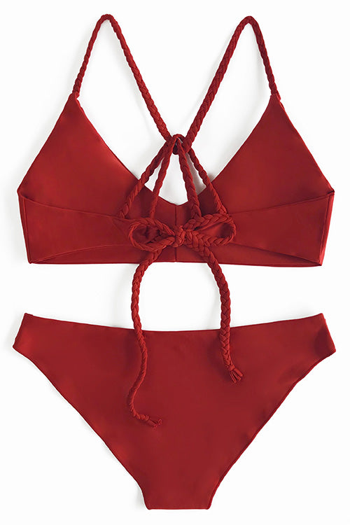 Chicnico Cute Red Navy Solid Bikini Set