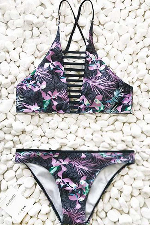 Chicnico Floral Padded Stretchable Halter Bikini