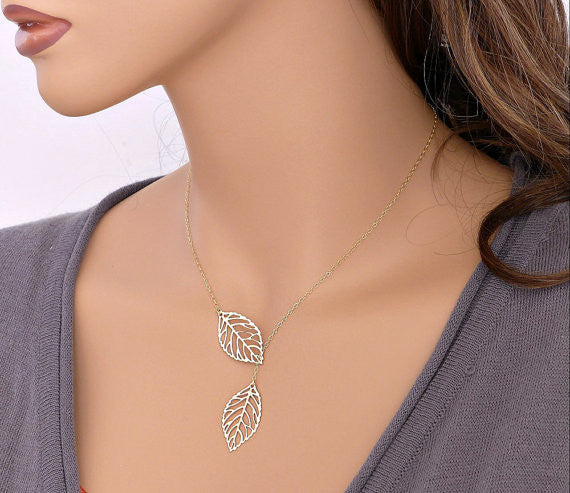 Chicnico Personlized Leaf Pendant Necklace