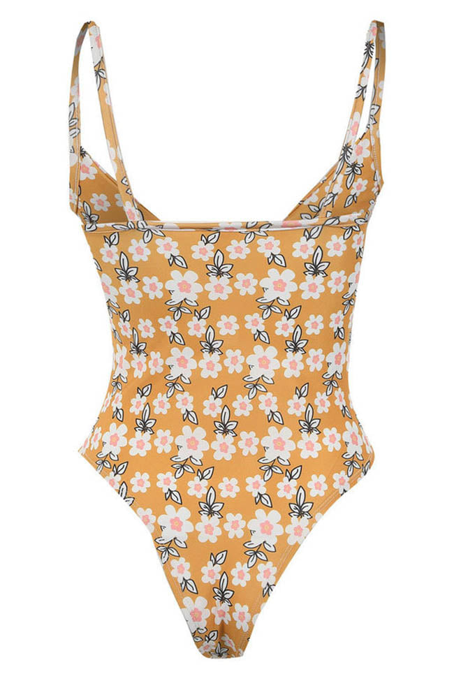 Chicnico Front Tie Floral Printed One Piece Bikini