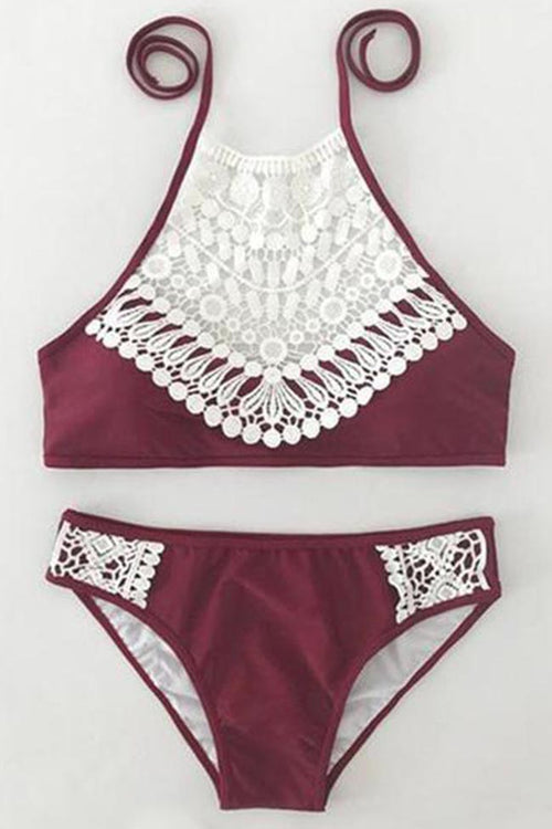 Chicnico Boho Ladies Lace Halter Bikini Set