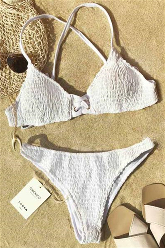 Chicnico Go Lucky Tie Solid Color Bikini Set