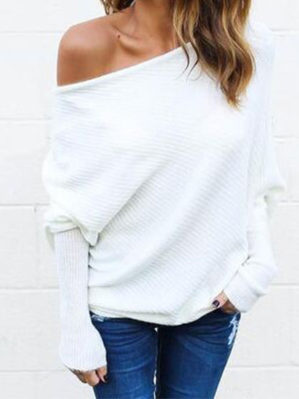 Chicnico Fashion  Bishop  Bateau Solid Color Knit Sweater