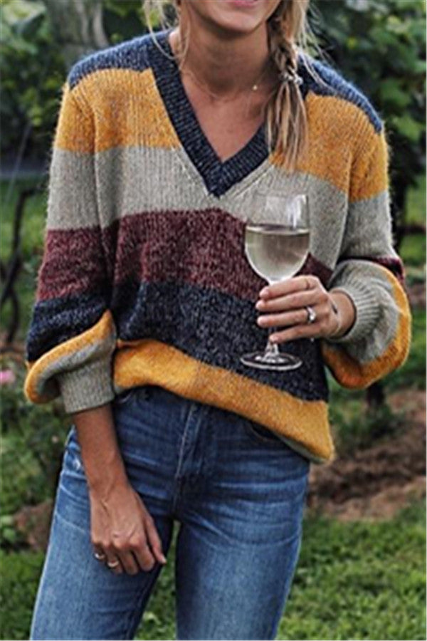 Chicnico Casual Patchwork Loose Sweater