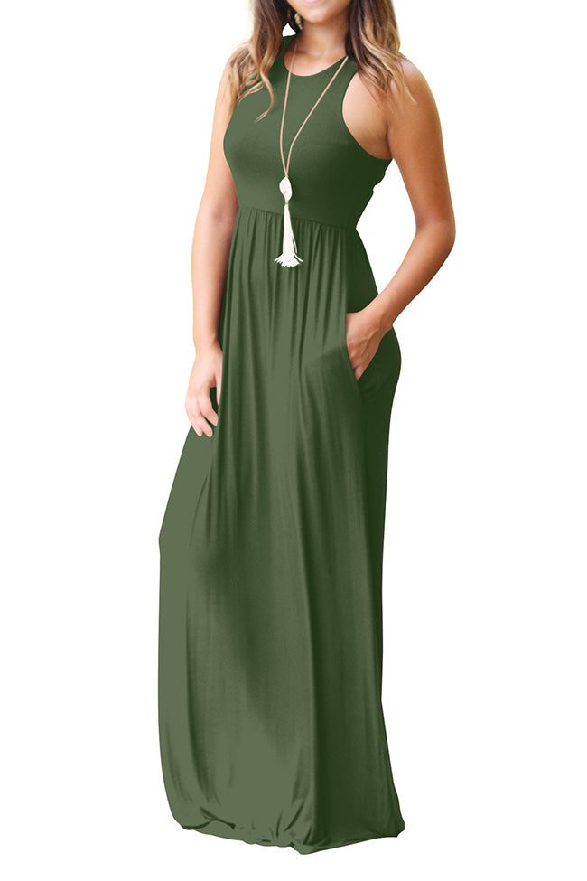 Chicnico Simple Solid Color Vest Maxi Dress