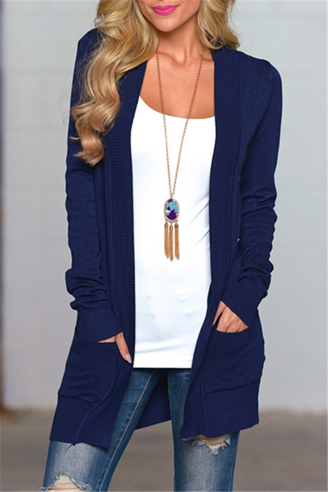 Chicnico Classic Pocket Front Navy Cardigan