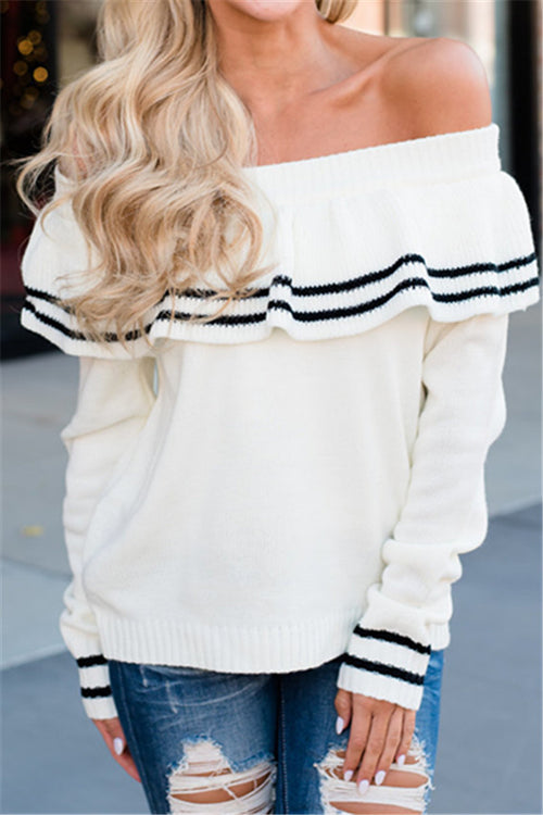 Chicnico Cute Off Shoulder White Sweater