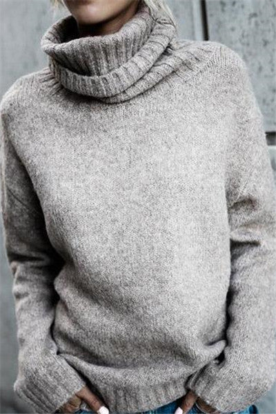 Chicnico Causal Knit High Neck Loose Sweater
