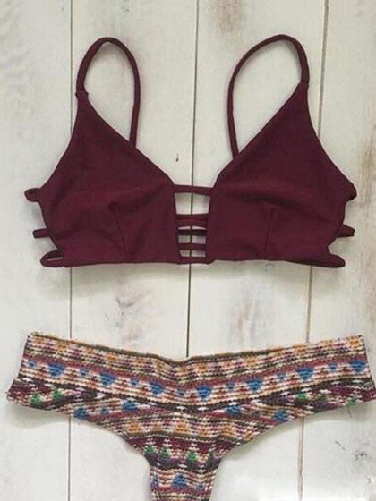 Chicnico Ruby Strappy Cross Bikini Top And Hipster Bottom