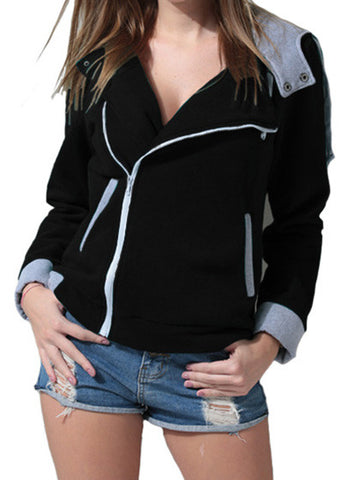Chicnico Sport Simple Zipper Hoodie Coat