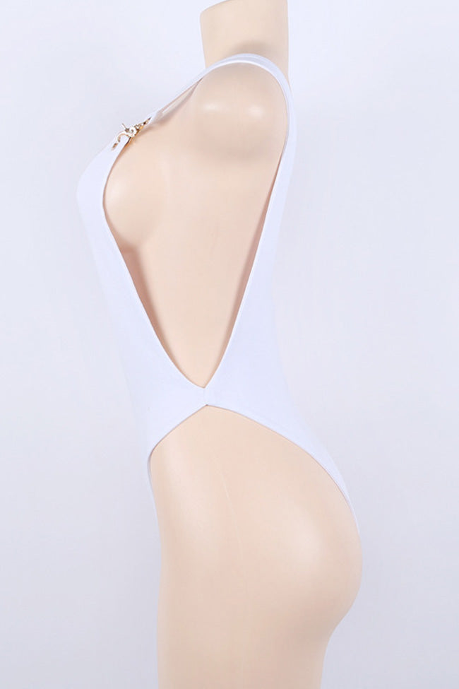 Chicnico Simple Strape One Piece White Bikini