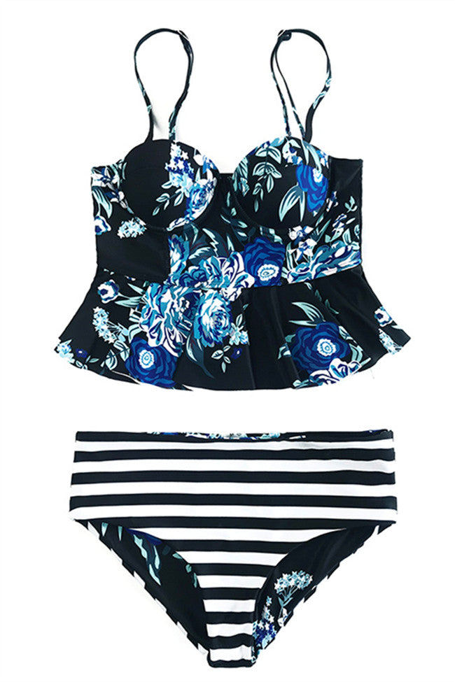 Chicnico Striped Reversible Bottom Push Up Tank High Waist Bikini Set