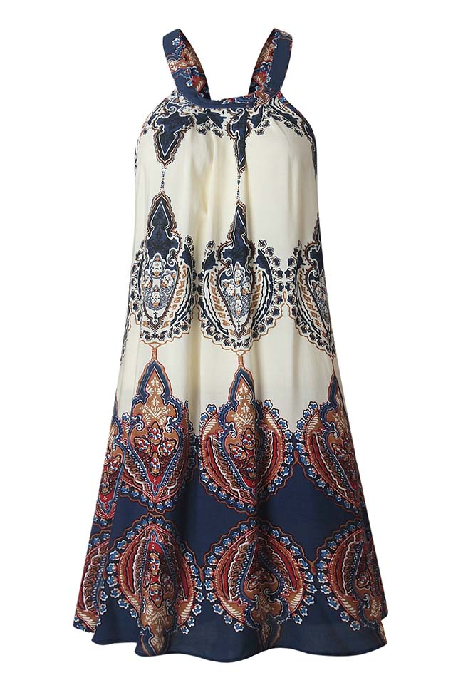 Chicnico Boho Floral Printed Halter Mini Dress