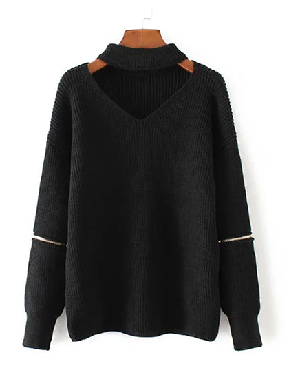Chicnico Sexy Cut Out V-neck Zip Decoration Long Sleeve Sweater