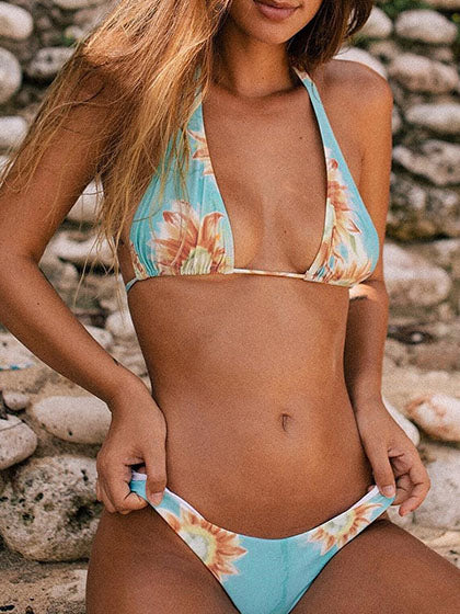 Chicnico Cute Sunflower Print Halter Bikini Set