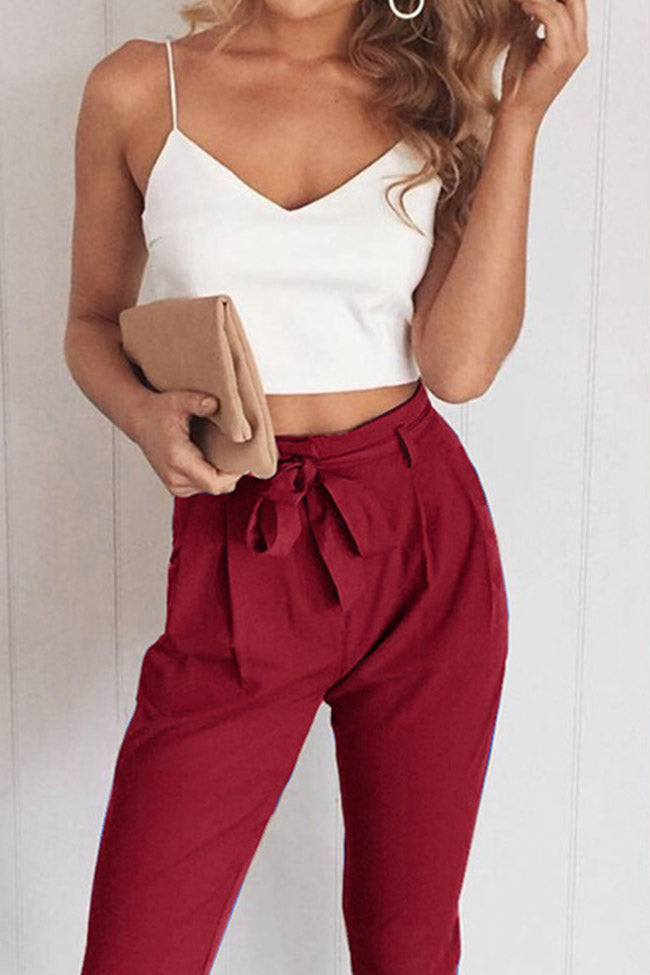 Chicnico Casual Two-piece White Camisole And Paperbag Pants