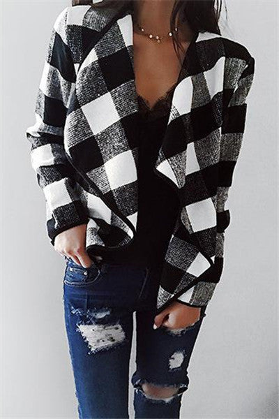 Chicnico Fashion Open Collar Batwing Sleeve Gingham Oversize Cardigan
