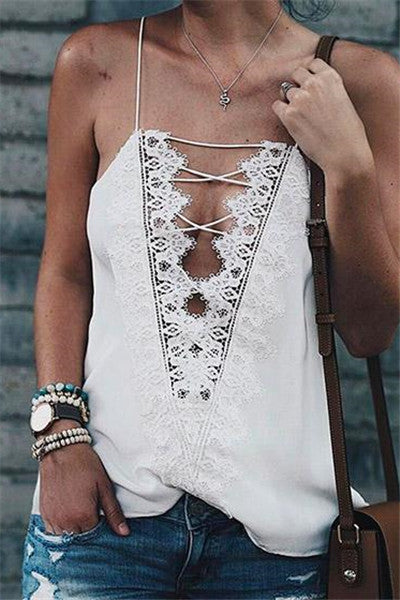 Chicnico Cute Lace Spliced Bandage Cross Ties Top Camisole