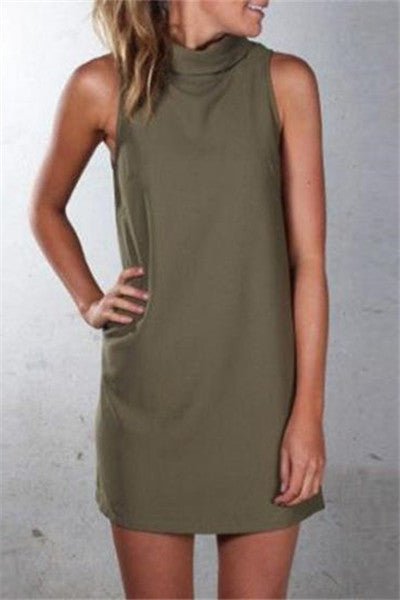 Chicnico Casual Sleeveless Solid Color Mini Dress