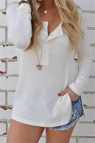 Chicnico Casual Basic Knit Solid Color Long Sleeve Top